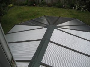 After: the conservatory roof with new Insu polycarbonate panels and lead flashing.