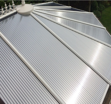 Roof panels after replacement - the Conservatory regains its 'sparkle'.