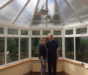 After polycarbonate conservatory roof heat reflectors fitted.