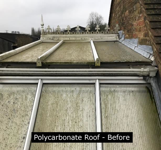 (Before) - polycarbonate conservatory that needs a new roof.